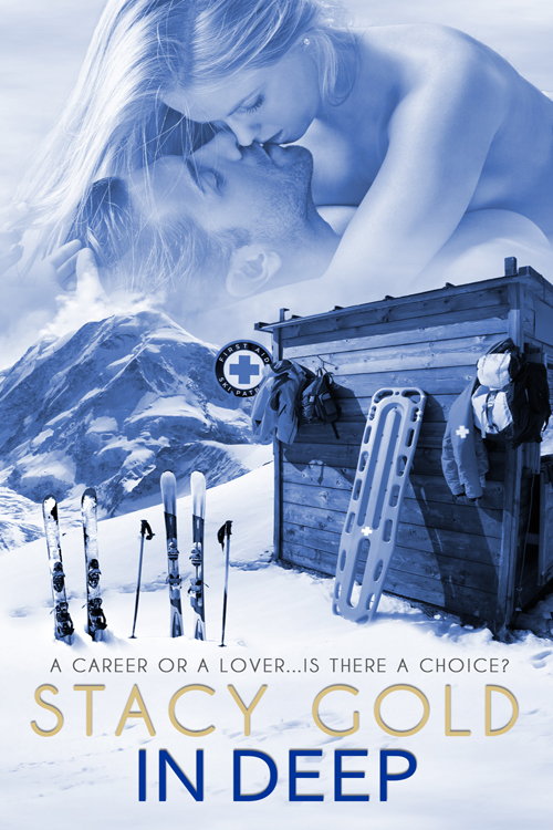 In Deep cover with mountains, skis, m/f couple kissing